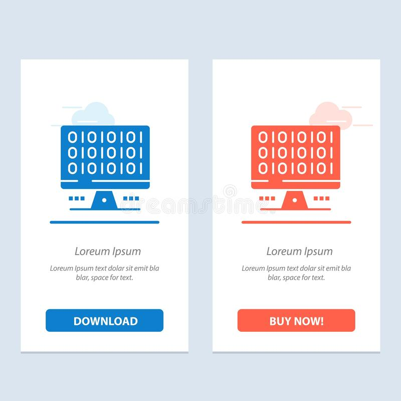 Web, Computer, Computing, Server  Blue and Red Download and Buy Now web Widget Card Template stock illustration
