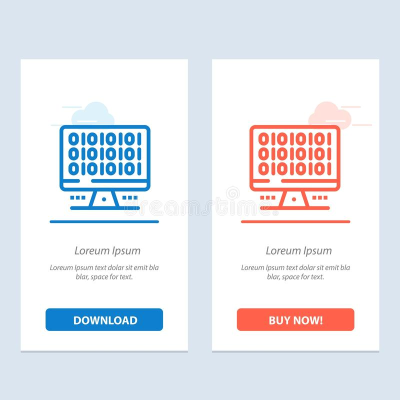 Web, Computer, Computing, Server  Blue and Red Download and Buy Now web Widget Card Template vector illustration