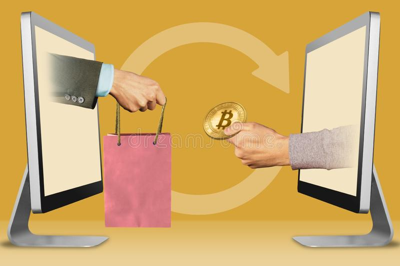 E-commerce concept, two hands from monitors. hand with shopping bag and hand with bitcoin. 3d illustration stock illustration