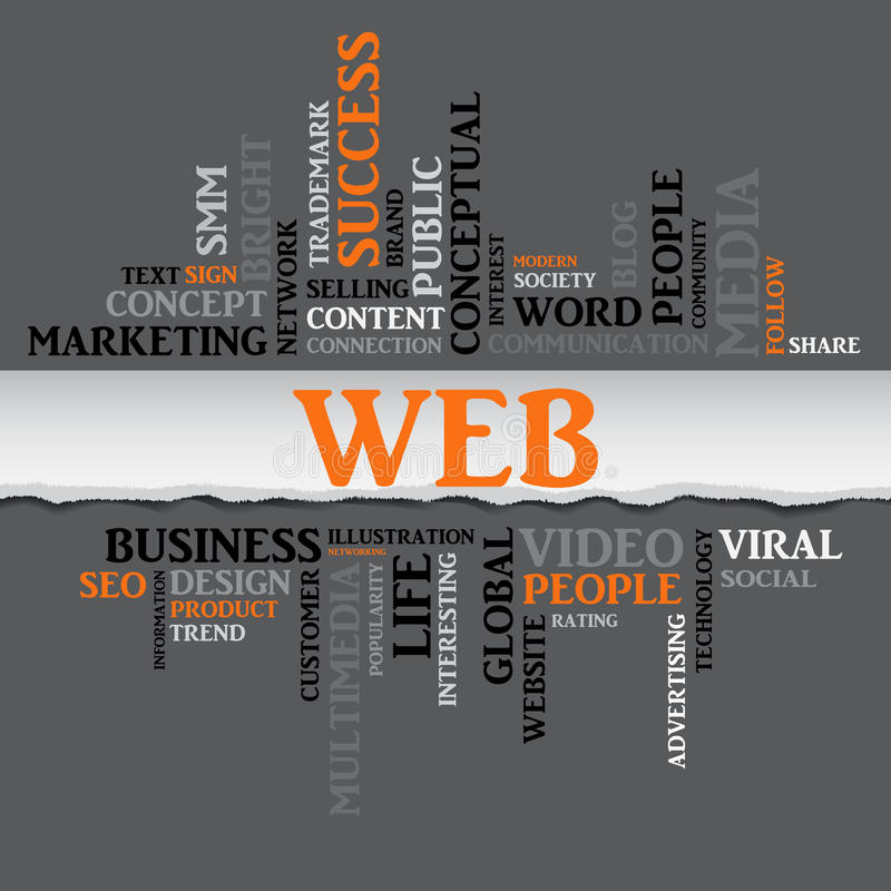 Web concept related words in tag cloud. Vector. Web concept related words in tag cloud with different association internet and business terms. The effect of torn stock illustration