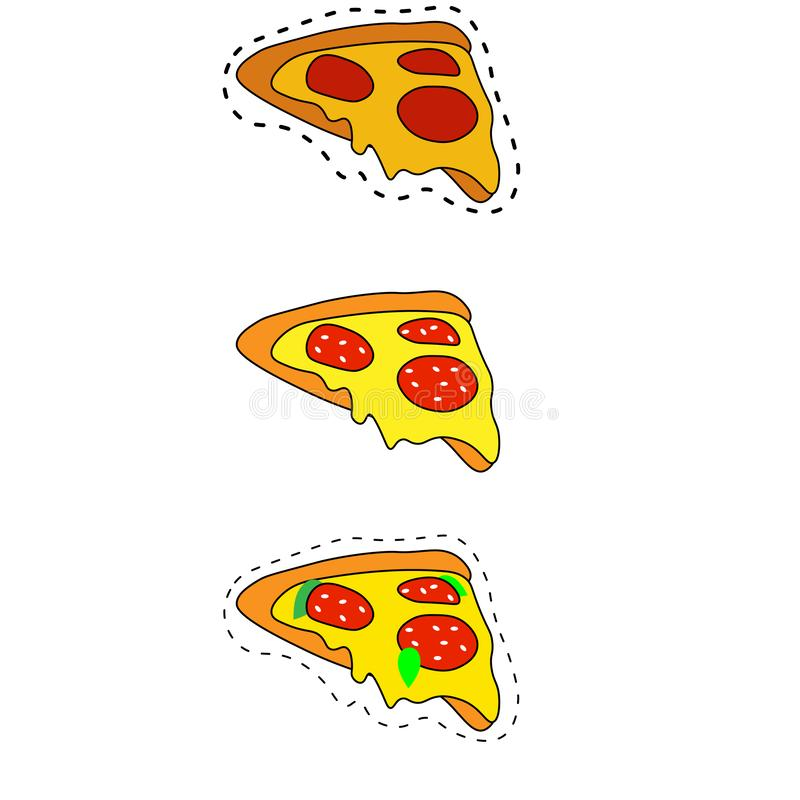 web ?cone liso detalhado da Web do estilo da pizza Cole??o do alimento ilustração do vetor