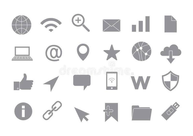 Web connection gray vector icons set royalty free illustration
