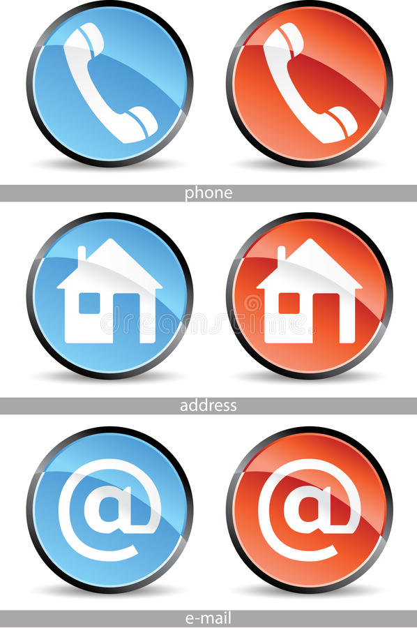 Web contact buttons stock illustration