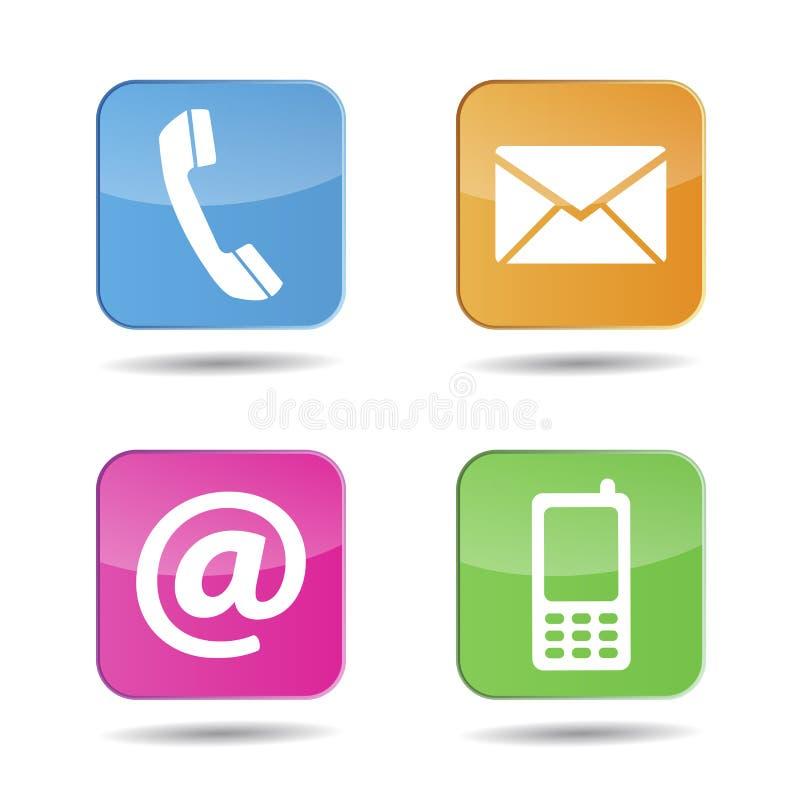 A Web contacta-nos ícones ilustração stock