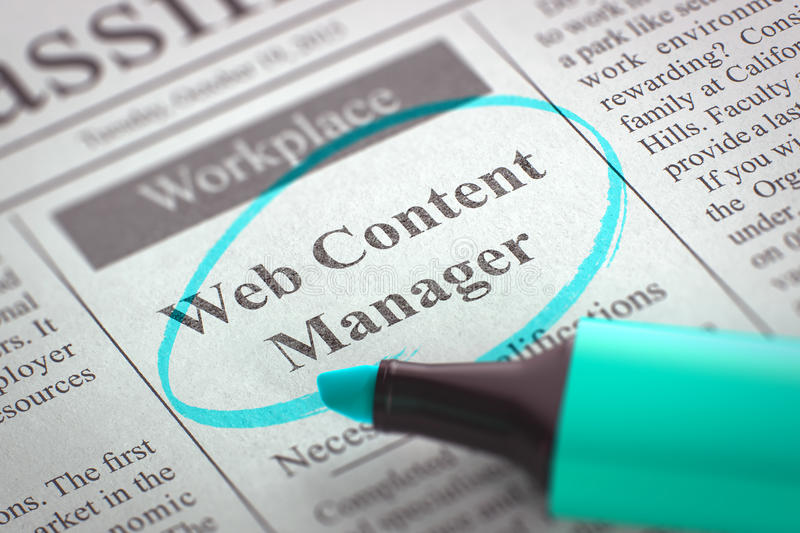 Web Content Manager Hiring Now. 3D. stock illustration