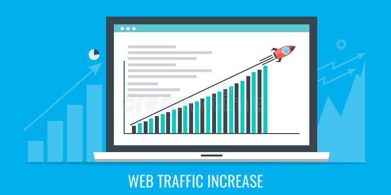 A Web crescente trafica o gráfico em uma tela do portátil, mercado do Internet, promoção em linha, conceito digital da propaganda ilustração stock