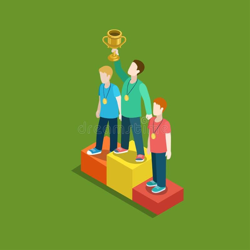 Web 3d lisa do conceito do vencedor da concessão da avaliação do troféu dos esportes isométrica ilustração royalty free