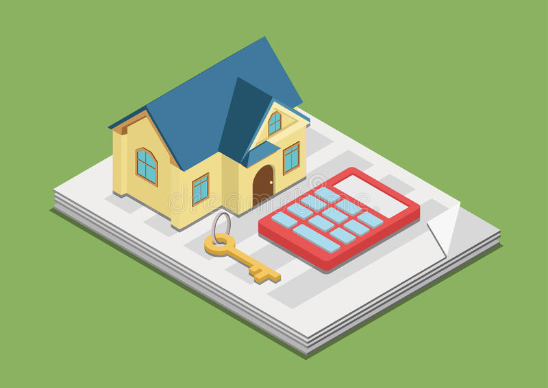 Web 3d plat de concept des prix de loyer de frais de gestion immobilière isométrique illustration de vecteur
