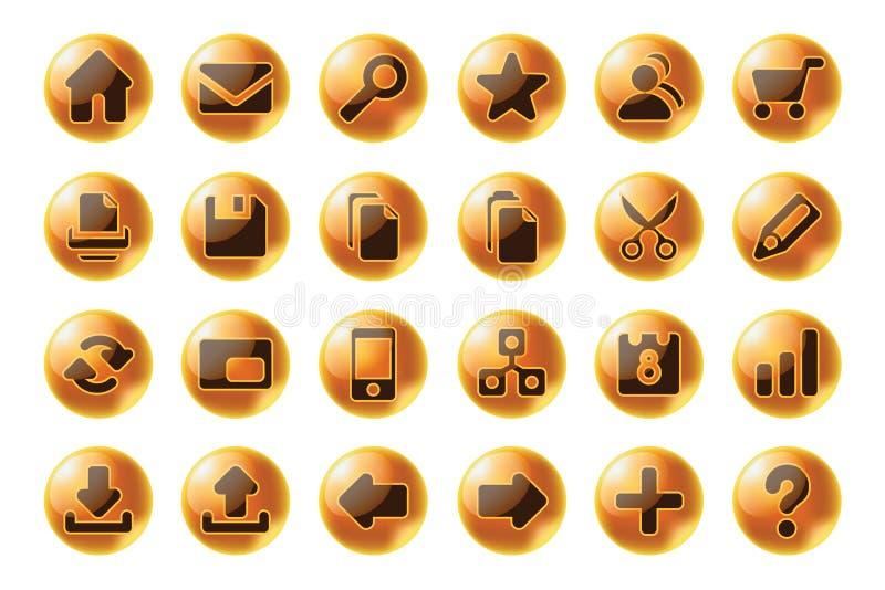 Web da esfera e ícones lustrosos dos multimédios ilustração stock