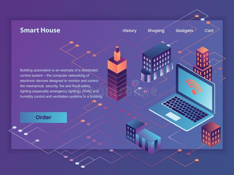 Web da ilustração da tela do vetor esperto da casa primeira ilustração stock