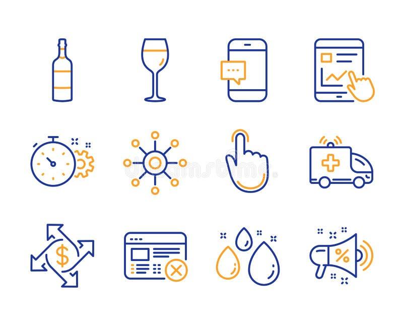 Web da rejeição, carro da ambulância e de clique da mão grupo dos ícones Vidro de vinho, troca do pagamento e de garrafa da aguar ilustração stock