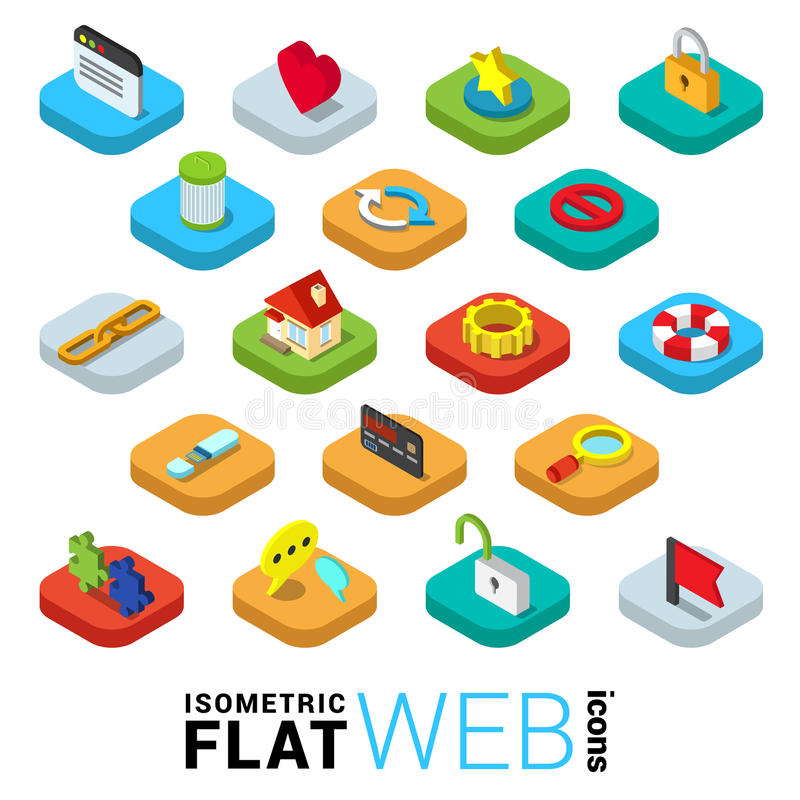 Web dat mobiele app vlakke 3d pictogrammen surft: venster zoals favoriet slot stock illustratie