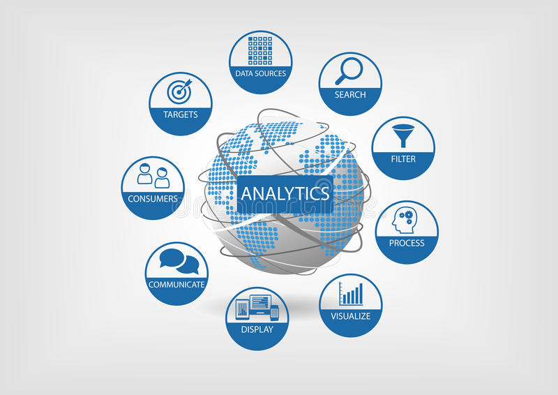 Web and data analytics illustration with globe and dotted world map. Analytics components such as search, filter, visualization, communication vector illustration