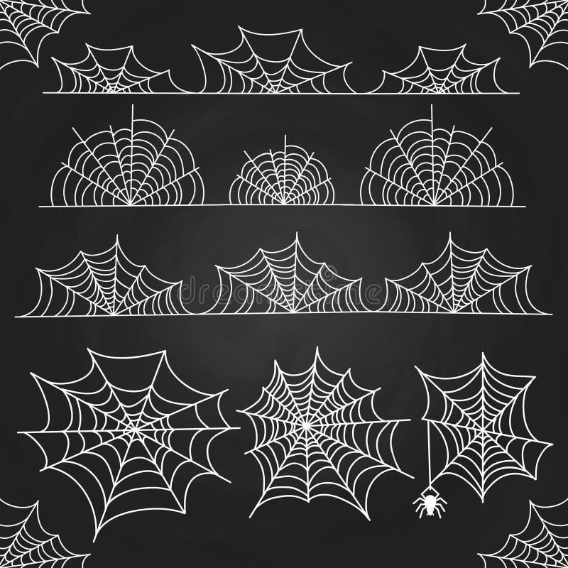 Web de araña blanco en el contexto de la pizarra Fronteras y decoración de Halloween libre illustration