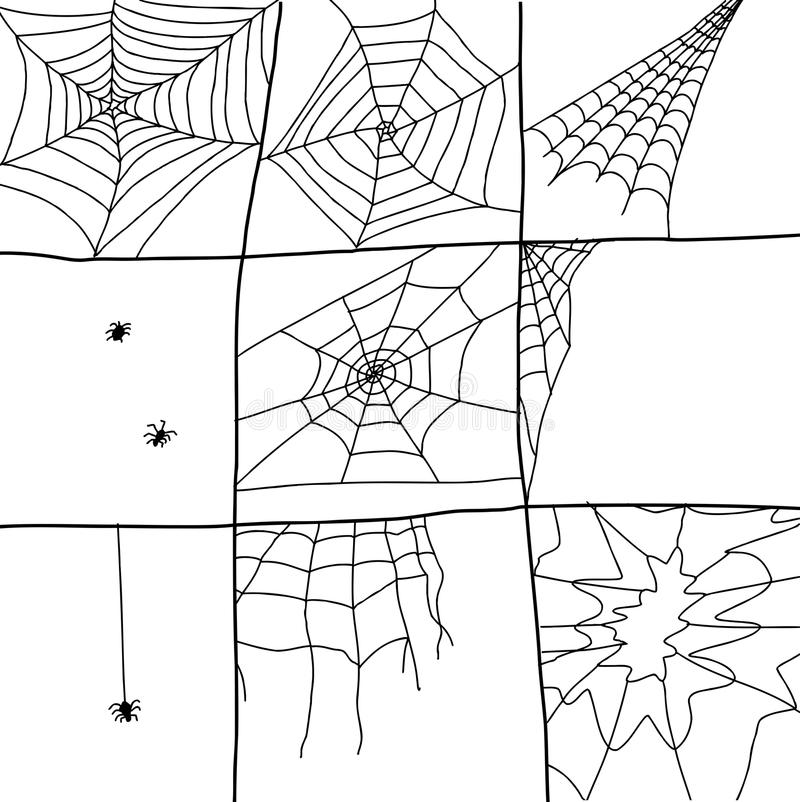 Web de araña dibujados mano libre illustration