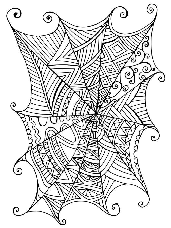 Web de araña hermoso decorativo, libro de colorear de los niños s ilustración del vector
