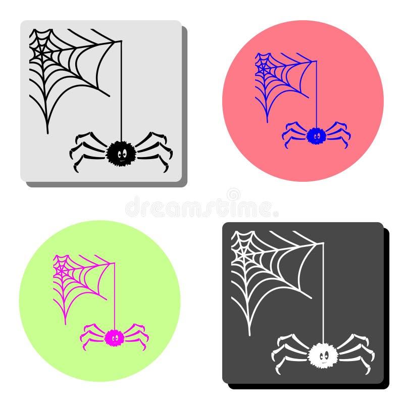 Web de araña Icono plano del vector stock de ilustración