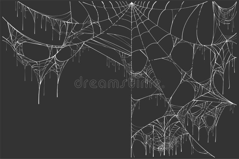 Web de araña rasgado blanco grande en fondo negro Paisaje de Halloween stock de ilustración
