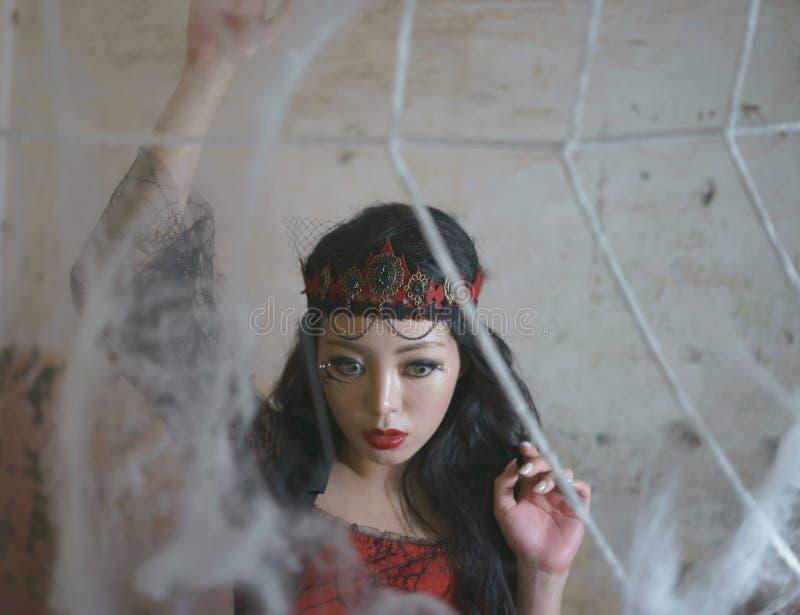 Web de aranha da mulher da bruxa imagens de stock
