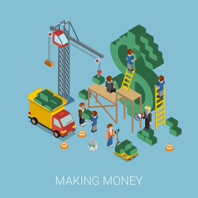 Web de fabricación isométrico plano de $ del dinero 3d concepto infographic stock de ilustración