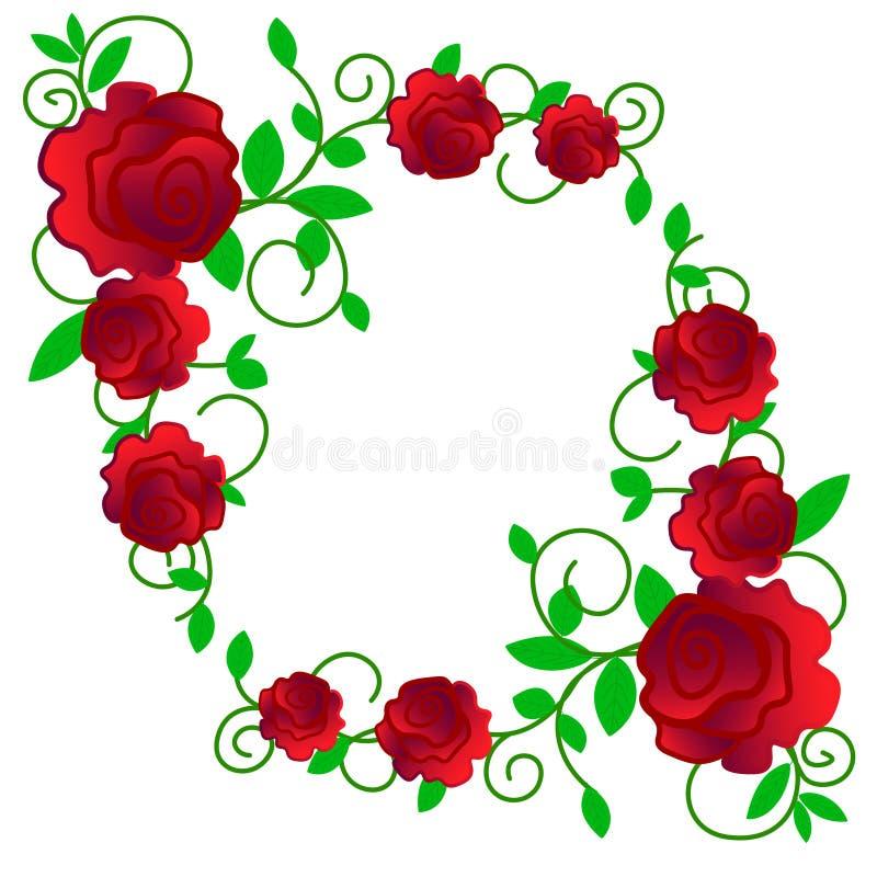 web De groetkaart met rozen, waterverf, kan als uitnodigingskaart voor huwelijk, verjaardag en andere vakantie en zomer worden ge stock illustratie