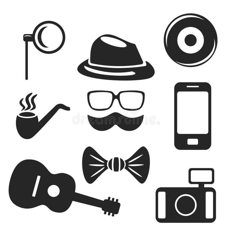 Web de hippie et icônes mobiles réglés Vecteur illustration libre de droits