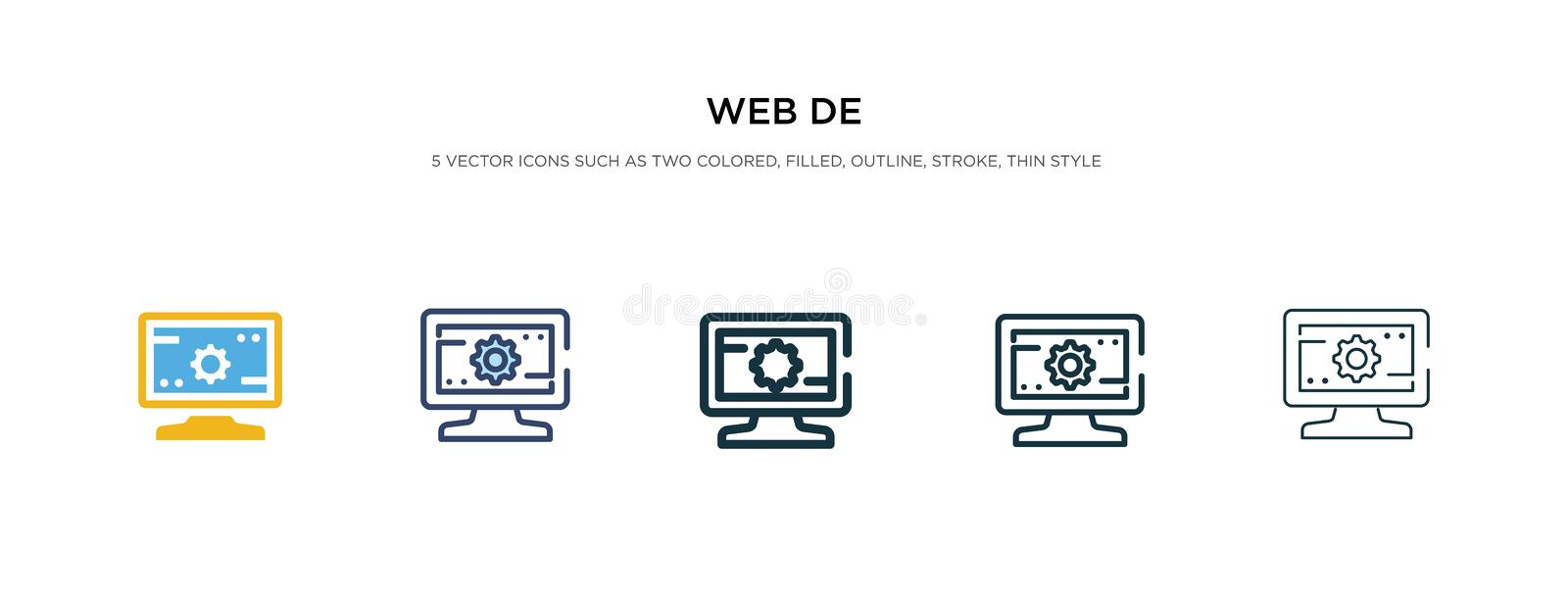 Web de icon in different style vector illustration. two colored and black web de vector icons designed in filled, outline, line. And stroke style can be used vector illustration