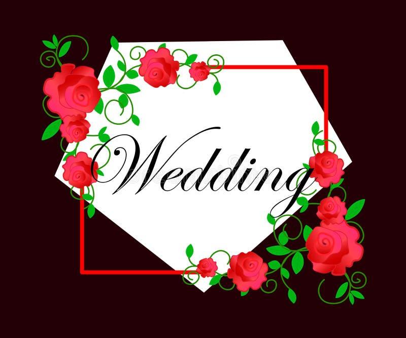 web De kaart van het huwelijk of uitnodiging met abstracte bloemenachtergrond Elegantiepatroon met bloemen Abstracte groetkaart G stock illustratie