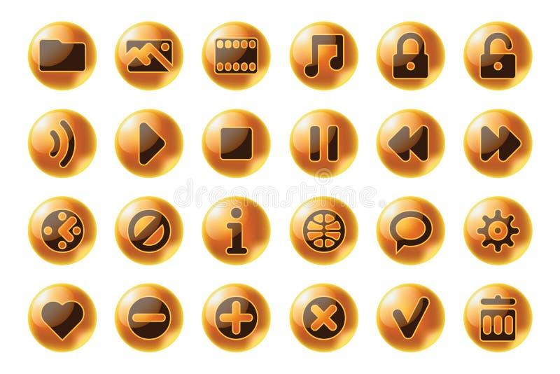 Web de la esfera e iconos brillantes de los multimedia ilustración del vector