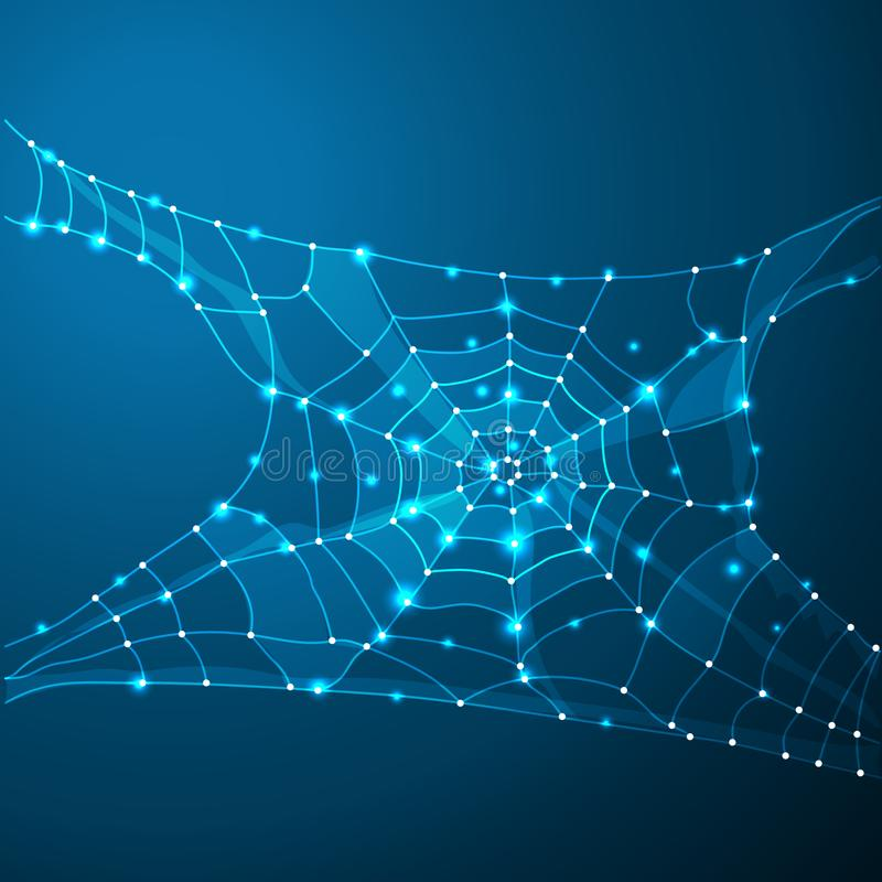 Web de la telaraña o de araña Línea del polígono en fondo abstracto Espacio poligonal bajo polivinílico con los puntos y las líne ilustración del vector