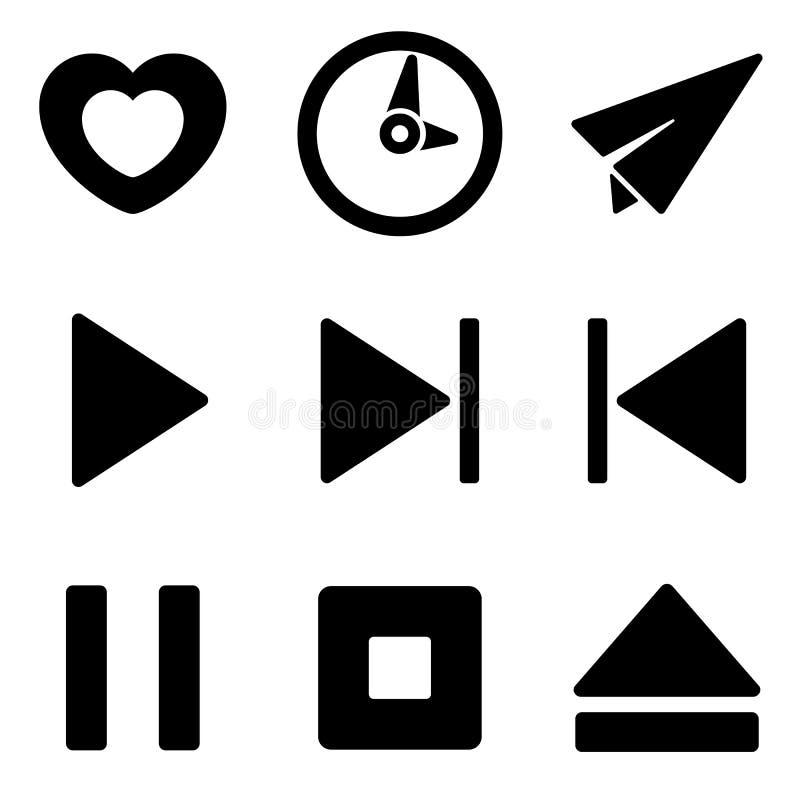 Web de media player et collection mobile d'icônes de logo illustration stock