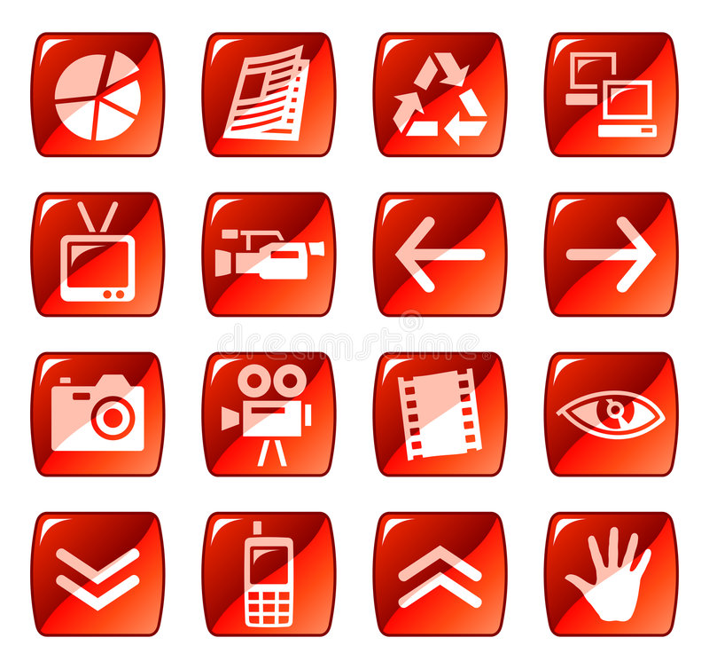 Web de rouge de 4 graphismes de boutons illustration stock