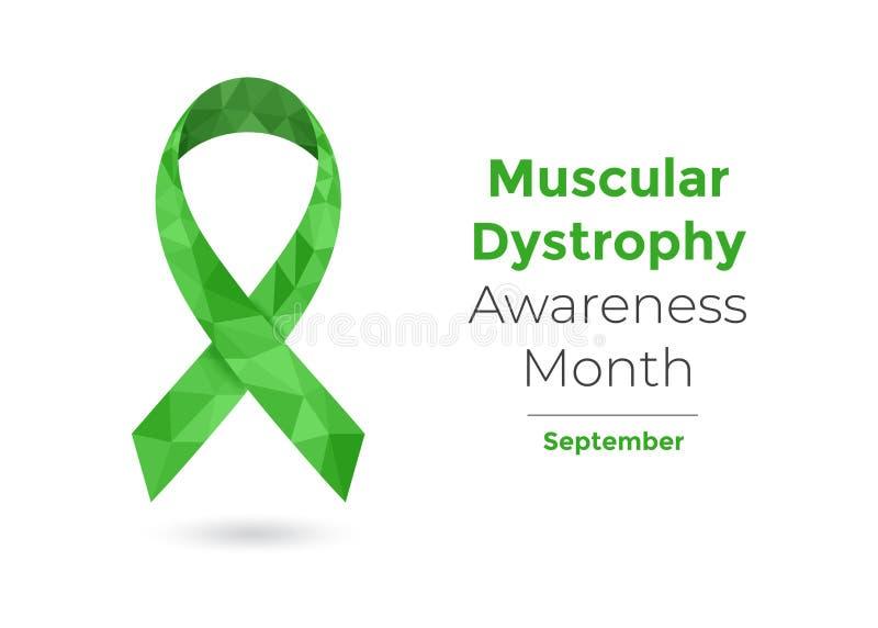 Web de ruban de vert de mois de conscience de dystrophie musculaire illustration de vecteur