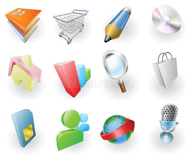 Web del color y conjunto dinámicos del icono de la aplicación stock de ilustración