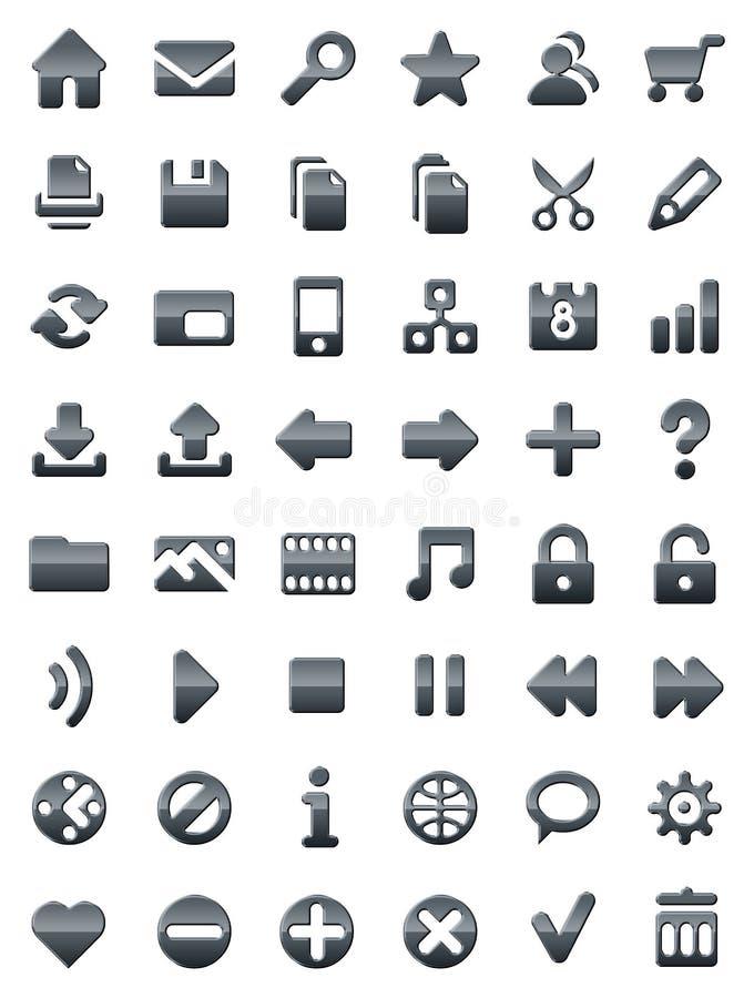 Web del metal e iconos de los multimedia stock de ilustración