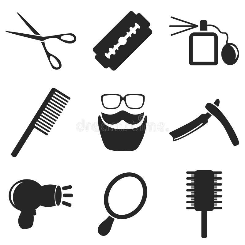 Web del peluquero y colecciones móviles de los iconos Vector ilustración del vector