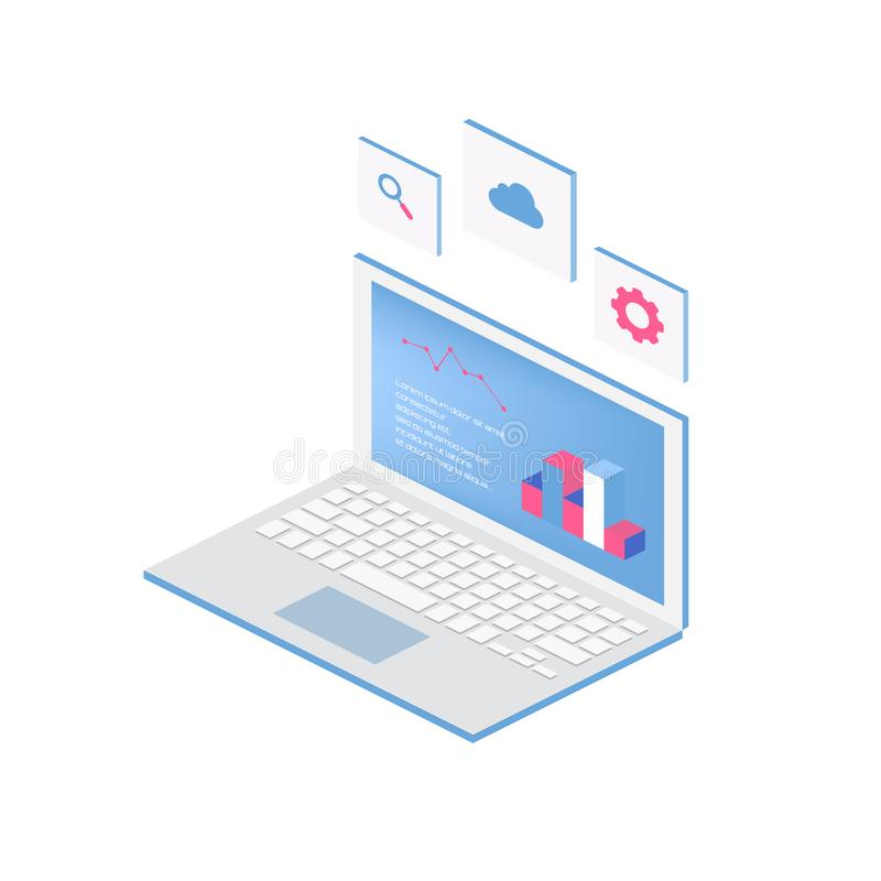Web del proceso del analytics con el ordenador portátil y la estadística de la página web del desarrollo Iconos planos vector mod ilustración del vector