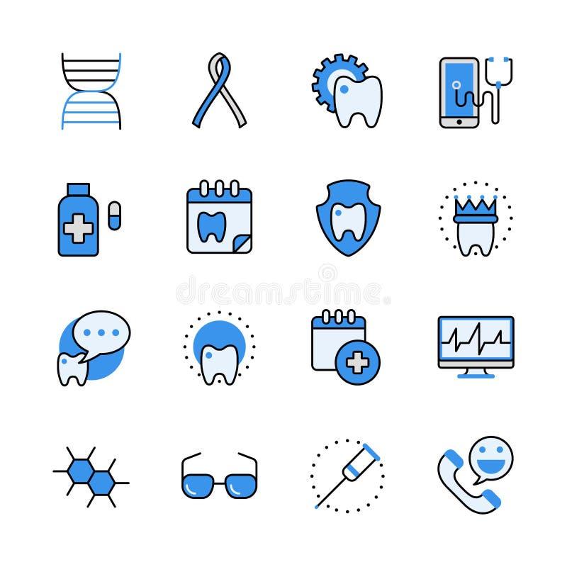 Web dentario medico v piana del lineart di aiuto di sanità illustrazione vettoriale