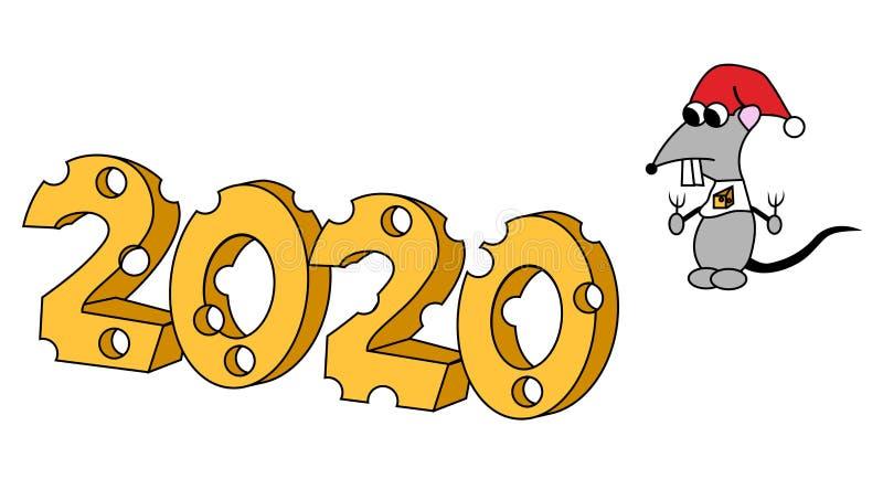 Web2020 in der K?seform mit hungrigem Charakter Jahr der Ratte Getrennte Abbildung lizenzfreie abbildung