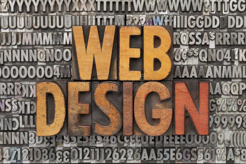Web design. Text in vintage wood letterpress printing blocks against grunge metal typeset