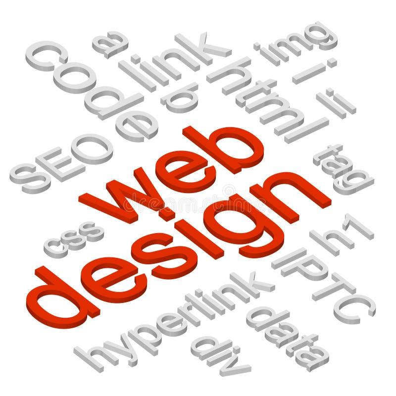 Web Design 3D Words Background stock illustration