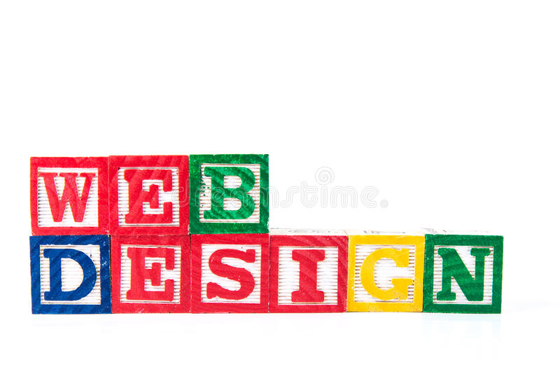 Web Design - Alphabet Baby Blocks on white royalty free stock photos