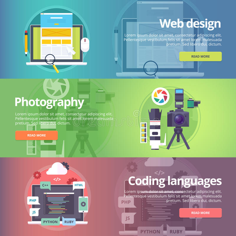 Web design. Art of digital photography. Coding languages. stock illustration