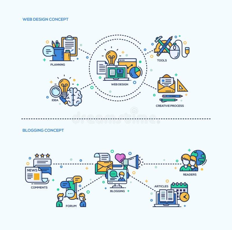 Web Design, Blogging Icons Concept Compositions Set vector illustration