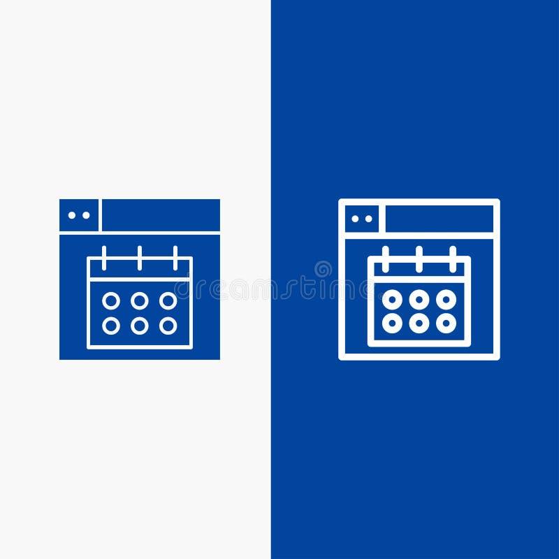 Web, Design, Calendar, Date Line и Glyph Solid icon Синяя баннерная линия и Глиф Solid значок Синий баннер бесплатная иллюстрация