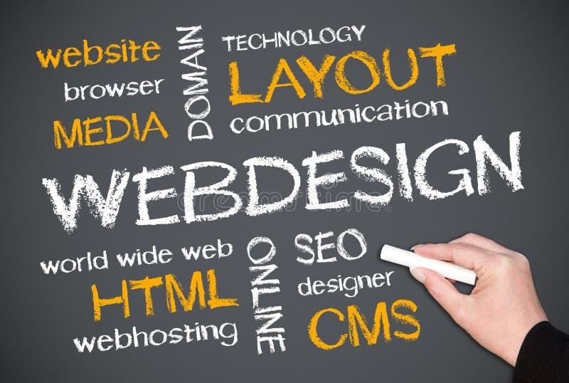 Web design on chalkboard stock photos