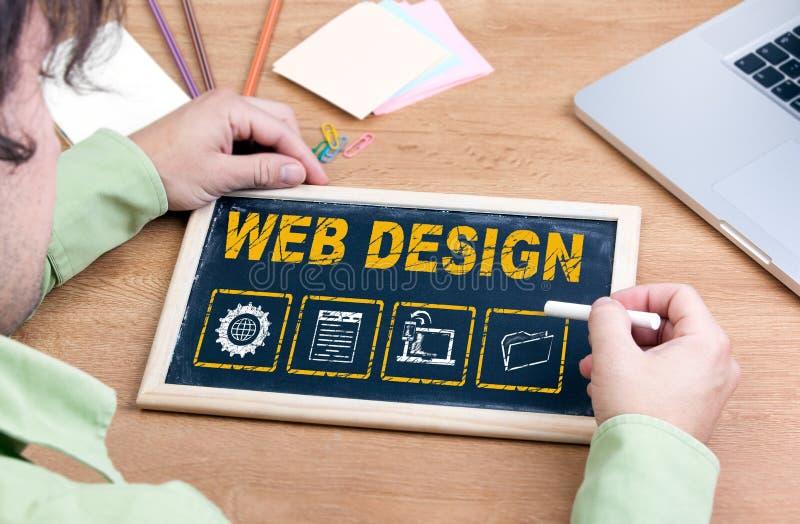 Web Design. Chalkboard on wooden office desk stock images