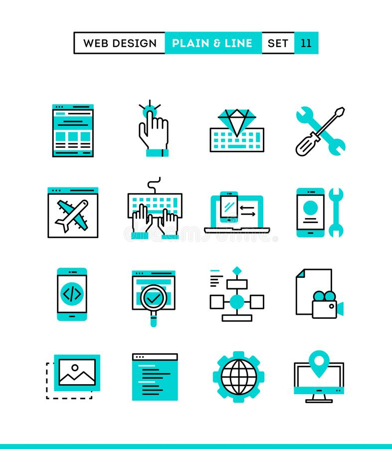 Web design, coding, responsive, app development and more. Plain. And line icons set, flat design, vector illustration stock illustration