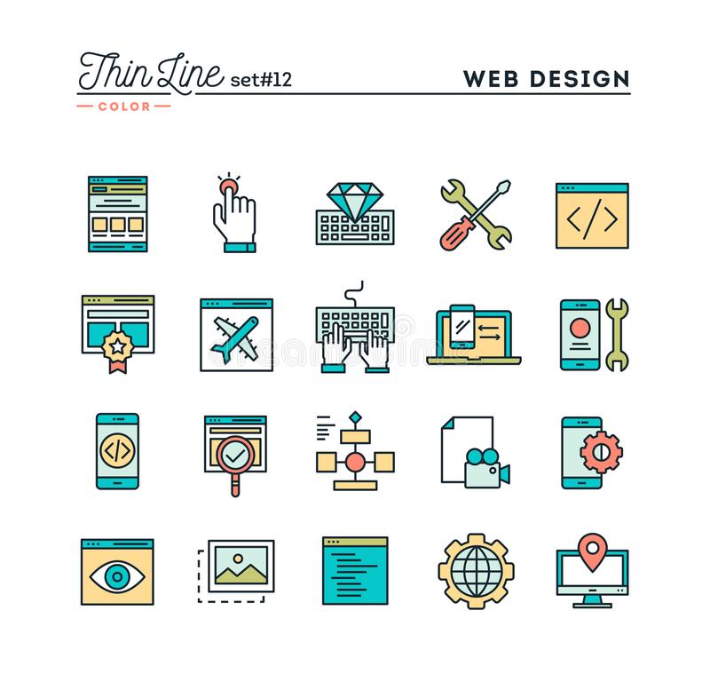 Web design, coding, responsive, app development and more, thin l. Ine color icons set, vector illustration stock illustration