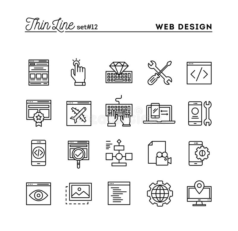 Web design, coding, responsive, app development and more, thin l. Ine icons set, vector illustration vector illustration